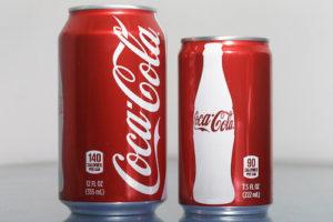 big coke versus small can of coke