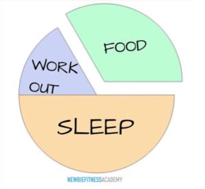 fitness pie chart - workout, food, sleep
